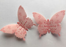 15 Personalised Girls Christening Wafer Paper Butterflies Cupcake Cake Toppers