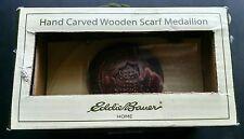 Eddie Bauer Home Hand Carven Wooden Scarf Medallion Brown