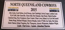 NRL Nth Queensland Cowboys Squad 2015 Plaque Gold  free post 120mmx60mm
