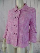 J Crew Blazer 4 Pink White Weave Cotton Linen Blend Boxy 3/4 Tab Sleeves Retro
