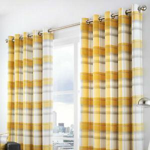 Fusion Balmoral Ochre Yellow Check Tartan 100%Cotton Fully Lined Eyelet Curtains
