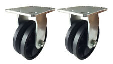 2 Heavy Duty Caster Set 4 5 6 8 V Groove Wheel Rigid And Swivel