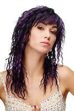 Women's Wig Long Crepe Curl Wetlook Caribbean Black Purple Mix 81119-1-df115