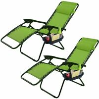 2 Folding Zero Gravity Reclining Lounge Chairs Utility Tray Outdoor Beach Patio