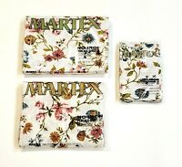 Vintage Martex Twin Sheet Set 4-Piece Flat Fitted 2 Pillowcases Floral Butterfly