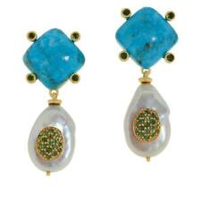 Rarities Gold-Plated Turquoise, Pearl And Tourmaline Drop Earrings Hsn $250