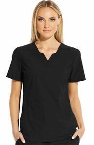 """Grey's Anatomy Edge #013 Modified Designer V-Neck Scrub Top in """"Black"""" Size L"""