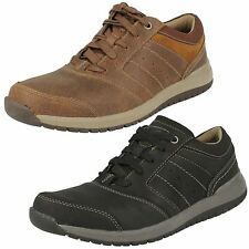 2d1224e47a01 MENS CLARKS LACE UP BLACK TAN LEATHER SMART CASUAL SHOES TRAINERS RYLEY  STREET