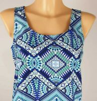 NEW Debenhams Ladies TURQUOISE Aztec Print Sleeveless Summer Top Size 8 - 20