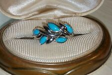 Ross Simons Sterling silver sleeping beauty Turquoise leaf design bezel Ring