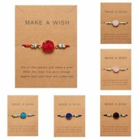 Natural Stone Braided Rope Charm Bracelet Friendship Couple Card Jewelry Gift