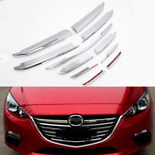 11pcs Chrome Front Bumper Billet Grille Grill Cover Trim For MAZDA 3 2014-2016