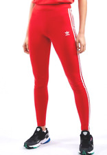 Adidas Leggings 3-Stripes Originals Rosso Slim Elasticizzato Allenamento Fitness