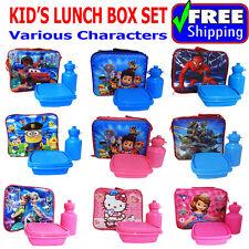 NEW KIDS INSULATED LUNCH BOX SET SCHOOL BAG FROZEN TURTLE PAW SPIDERMAN MINION
