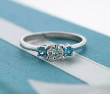 Round Cut Diamond & Blue Topaz 3 Stone Engagement Ring 14K White Gold