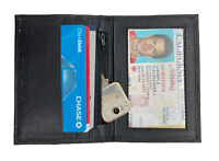Black Genuine Leather Men's Bifold Wallet Credit Cards Holder