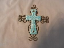 Vintage Hand Made Black Metal and Blue Pottery Cross (M)