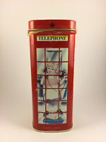 """Bentley's Empty Tin Box Container Red Telephone Booth Little Girl on Phone 4.75"""""""