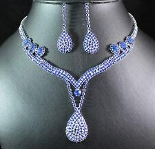 ROYAL BLUE AUSTRIAN RHINESTONE CRYSTAL NECKLACE EARRINGS SET BRIDAL PROM N1388B