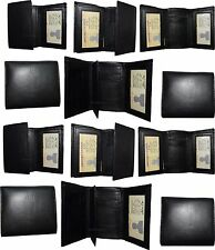 Lot of 12 New Black Trifold Leather Men's wallet 9 cardspace billfold ID wallet