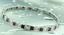 6.18 ct 14k White Gold Ruby  & Diamond Bangle Bracelet 17.0 grams Pre owned