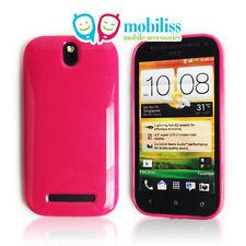 HTC One SV Soft TPU Gel iSkin Case Cover + Screen Protector Guard Film Hot Pink