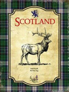 Scotland Red Deer Stag Scotch Tartan Thistle Small Metal/Steel Wall Sign