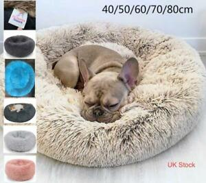 Fluffy pet bed dog cat soft soothing nest calming anti anxiety warm plush UK