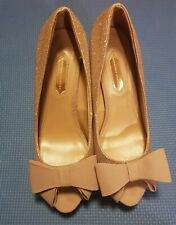 Glittery Gold and Nude bow Dorothy Perkin 4 inch heels  - UK size 6