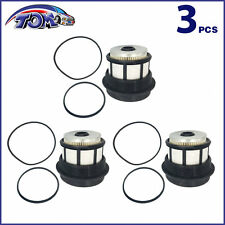 NEW 3 FUEL FILTERS + CAPS FOR 98-03 FORD F & E SERIES 7.3L POWERSTROKE DIESEL