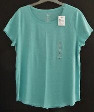 New Sonoma Women T-Shirt Sz XL Cotton Blend Cap Sleeve Top Round Neck Tee Blue