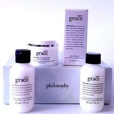PHILOSOPHY PURE GRACE SPRAY-WHIPPED BODY CREME-OLIVE SCRUB-SHOWER GEL  ALL NEW!