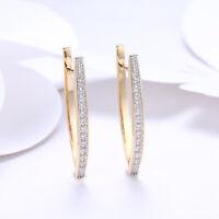 Womens Silver Cubic Zirconia Inside-Out Oval Hoop Earrings