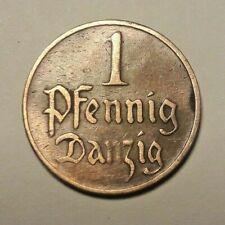 ===>>> DANZIG 1 PFENNIG 1930 FREE CITY POLAND GERMANY  <<<===