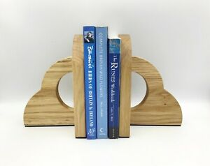 Oak wood Bookend Pair. Solid Wooden Bookends. Non-slip Or Scratch Handmade In UK