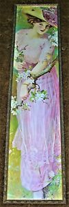 """ANTIQUE FRENCH """"SPRING BLOSSOMS"""" LADY CHROMOLITHOGRAPH YARD LONG PRINT"""