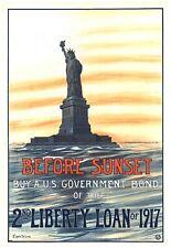 Before sunset 2nd Liberty Loan 1917 world war propaganda poster wall art