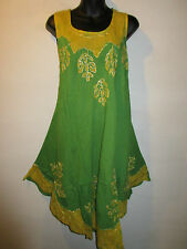Dress Fits XL 1X 2X 3X Plus Green Gold Batik A Shape Jumper A Shape One Size 43B