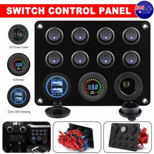 8 Gang 12V Switch Panel LED Rocker USB ON-OFF Toggle For Boat Marine Car Caravan
