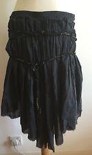 Navy Cotton MOLETA Grecian evening skirt sz.10 pleated knee length