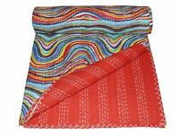 Vintage Kantha Quilt Indian Handmade Cotton Bedspread Comforter Blanket Throw