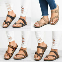 Women's Flat Slide Buckle T-Strap Sandals Cork Footbed Platform Flip Flops Shoes