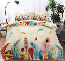 Fly Color Feathers 3D Printing Duvet Quilt Doona Covers Pillow Case Bedding Sets