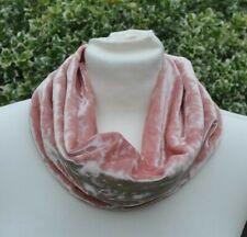 Snood/cowl Scarf stretch crushed velvet blush pink