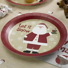 8 CHRISTMAS PAPER PLATES Santa Claus Father Christmas Party Buffet LET IT SNOW