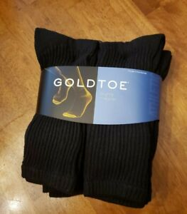 Gold Toe® Men's  Black Cushion Cotton Crew Socks, 6 Pair, sock size 10/13