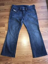 "Diesel Womens Size 30w x 26""L Ronhar Stretch Jeans Dark Wash Distressed bootcut"