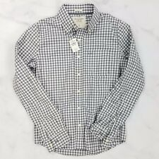 NWT Abercrombie & Fitch Gray Gingham Plaid Check Shirt, Mens Small 'Muscle'