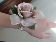 Rhinestone Wrist Corsage & Boutonniere Set, Roses for prom, wedding, pink/gray