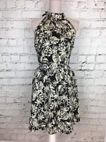 Womens ATMOSPHERE Black Cream Patterned Tie Neck Sleeveless Dress Size 14
